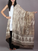 Beige White Cotton Mul Hand Block Printed Dupatta - D0417074