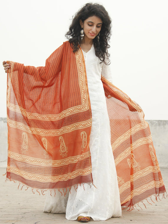 Orange Ivory Chanderi Hand Black Printed & Hand Painted Dupatta - D04170232