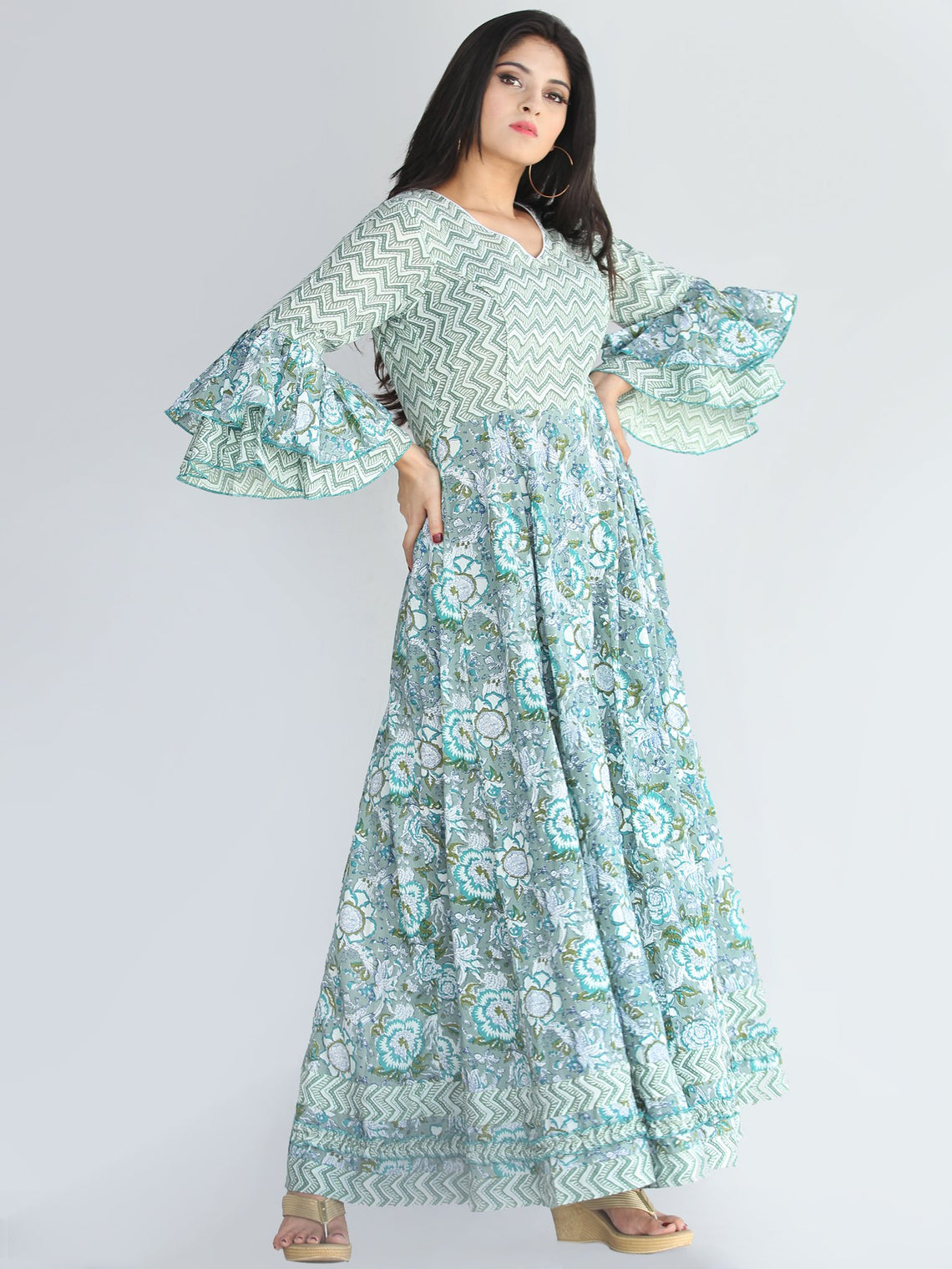 Raima - Hand Block Printed Panel Long Dress - D420F2246