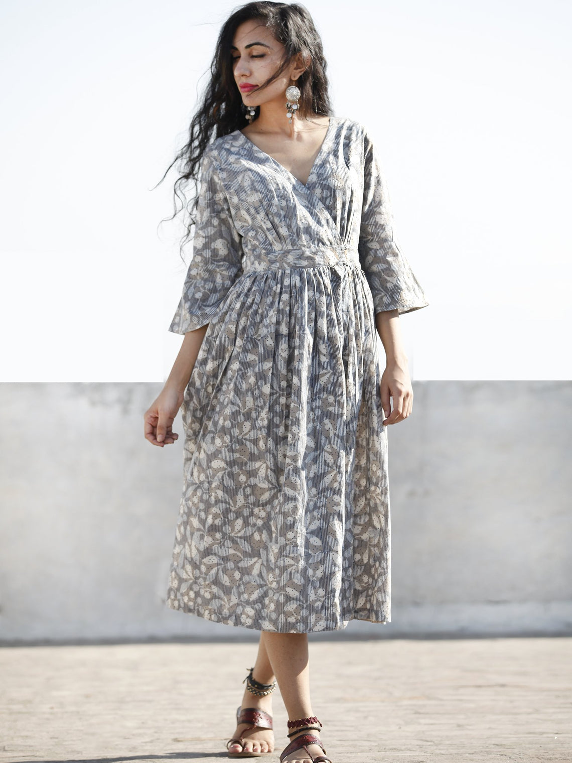 Grey Indigo Ivory Hand Block Printed Cotton Wrap Midi Dress With Bell Sleeves - D99F606