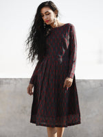 Green Maroon Shaded Hand Woven Mercerized Cotton Ikat Midi Dress With side Pleates - D202F836