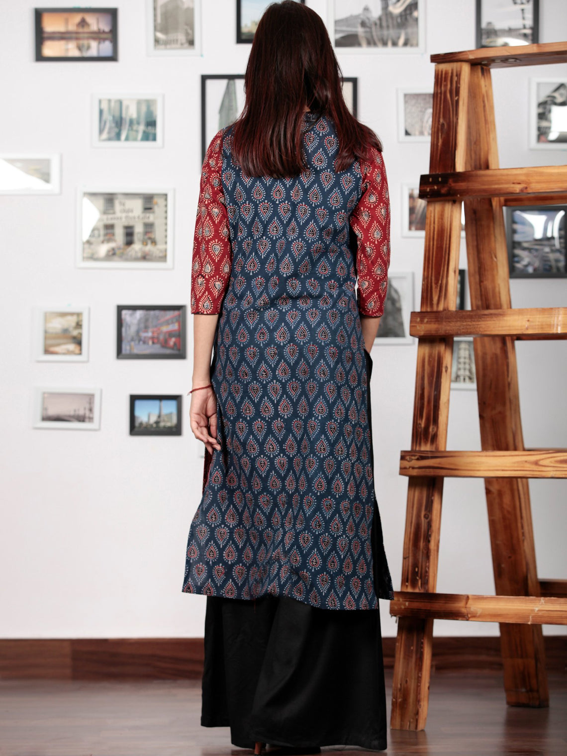 Indigo Maroon Black Beige Hand Printed Ajrakh Kurta in Natural Colors - K57BPA142