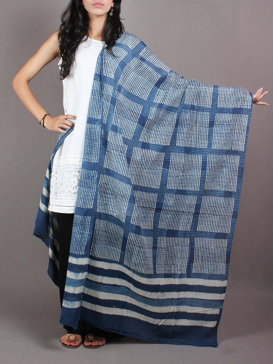 Indigo White Cotton Mul Hand Block Printed Dupatta - D0417080