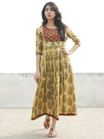 Olive Green Rust Mustard Black Pleated Hand Block Printed Cotton Midi Dress with Side Pockets   - D71F1079