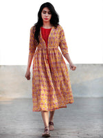 Yellow Red Ivory Hand Block Cotton Dress With Tie-Up Waist And Red Inner -  D85F782