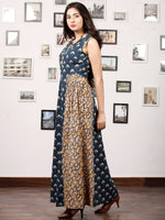 INDIGO SPREAD - Hand Block Printed Cotton Long Sleeveless Dress - D320F1362