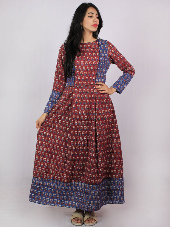 Maroon Blue Ivory Brown Hand Block Printed Kantha Stitched Long Cotton Dress With Box Pleats & Side Pockets - D2556104