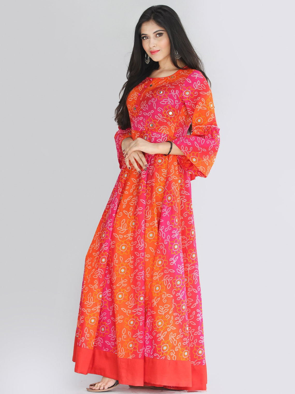 Maher - Pink Orange Bandhani Printed Urave Cut Long Dress  - D381F2238