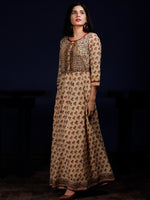 Naaz Ayana - Beige Rust Green Black Hand Block Printed Long Cotton Dress With Full Lining - DS60F001