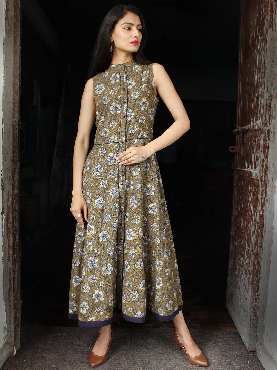 Olive Green Indigo Hand Block Printed Cotton Long Front Open Dress - D253F1355