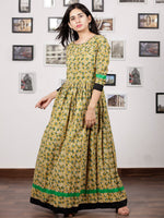 Mustard Green Ivory Hand Block Printed Long Dress With Back Details - D136F1132