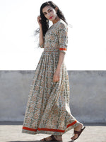 Ivory Green Orange Red Hand Block Printed Long Cotton Dress With Back Style  - D189F1059