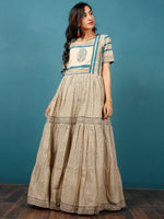 Naaz - Beige Black Teal Blue Hand Block Printed Long Cotton Tier Dress With Gathers -  DS51F001