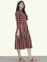 Black Red Mustard Ivory Hand Block Printed Cotton Dress With Stand Collar - D156F878