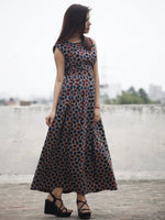 Indigo Maroon Black Long Ajrakh Hand Block Printed Cotton Dress With Knife Pleats & Side Pockets - D32F636