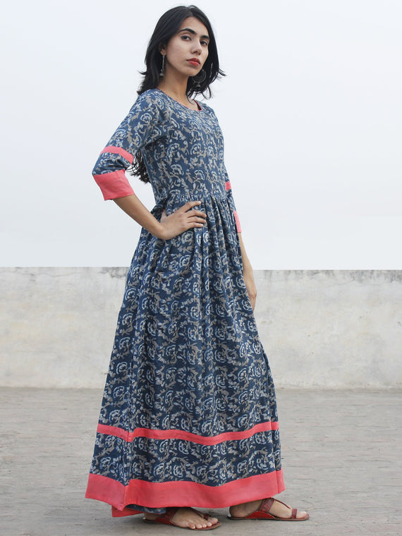 Indigo Ivory Kashish Long Hand Block Cotton Dress With Back Details  - D137F980