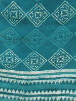 Teal Blue Ivory Chanderi Hand Black Printed & Hand Painted Dupatta - D04170212