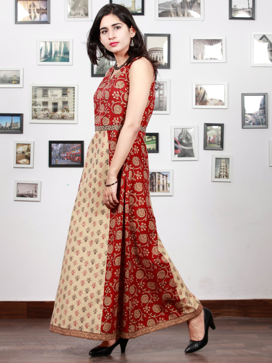 Beige Black Maroon Bagh Printed Cotton Panel Long Sleevless Dress  - D295F1706