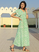Wirda - Pastel Green Hand Block Printed Cotton Angrakha Dress With Ruffle Sleeves - D273F2128