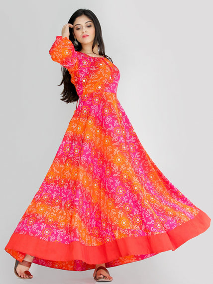 Maher - Pink Orange Bandhani Printed Urave Cut Long Mirror Work Dress  - D381F2238