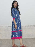 Indigo White Magenta Hand Blocked Cotton Midi Dress With Side Pockets  - D155F903