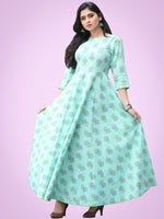 Nusrat - Green Grey Block Printed Urave Cut Long Dress With Tie Up Deep Back - D404F2153