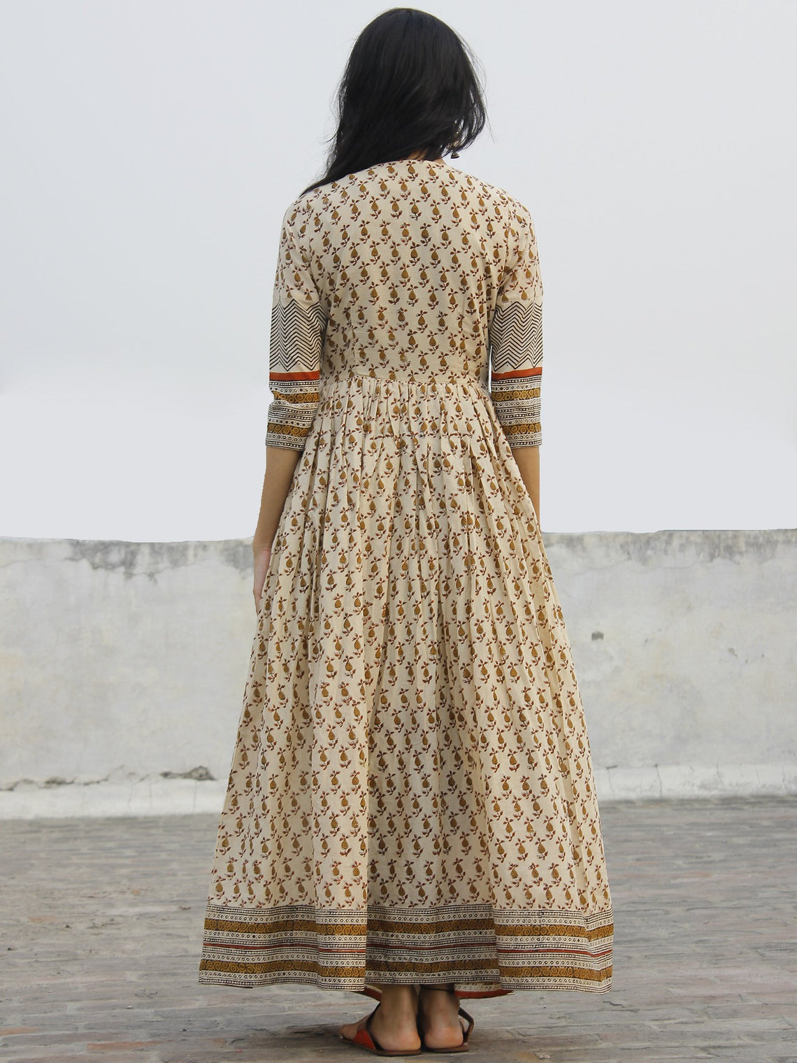 Naaz Block Charm - Hand Block Printed Angrakha Dress With Gathers -  DS11F003