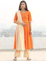 Shaz - Orange Gold Printed Kurta Chanderi Palazzo Set With Dupatta - SS02FZZZ