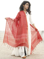 Red Ivory Chanderi Hand Black Printed & Hand Painted Dupatta - D04170236