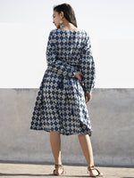 Indigo White Hand Block Printed Cotton Midi Dress With Peasant Sleeves  - D203F023