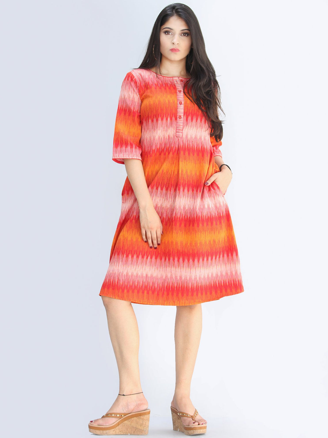 Nareena - Handwoven Ikat Cotton Midi Dress - D422F1454