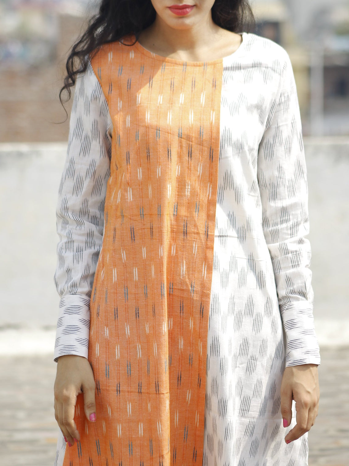 Ivory Peach black Ikat Dress With  Side Pockets  & Extra Long Cuff-  D115F820
