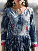 Naaz - Indigo Ivory Magenta Hand Block Printed Cotton Dress With Gathers -  DS42F001