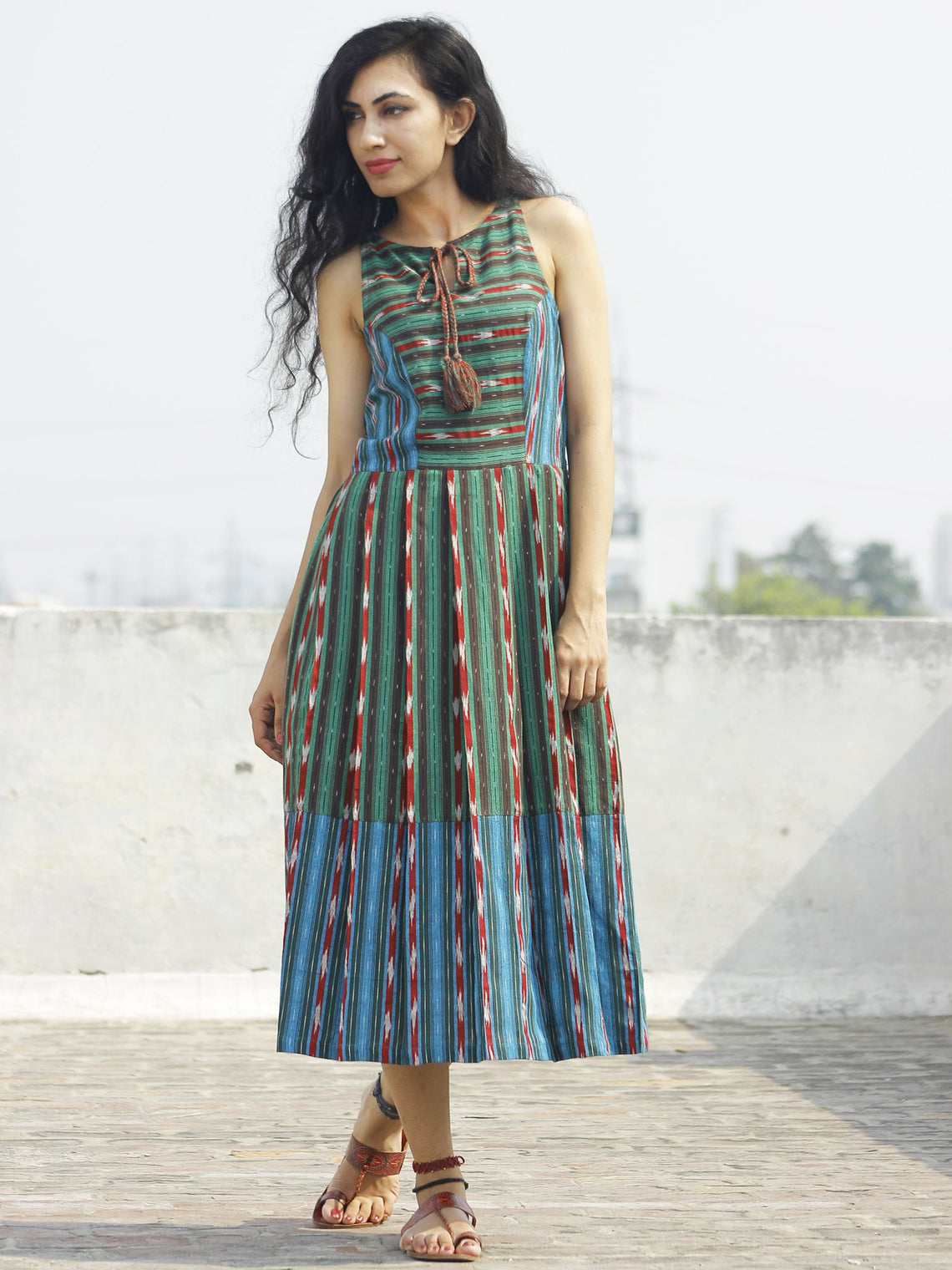 Green Blue Brown Red Ivory  Handwoven Ikat Dress With knife Pleats and Tassels -  D117F738