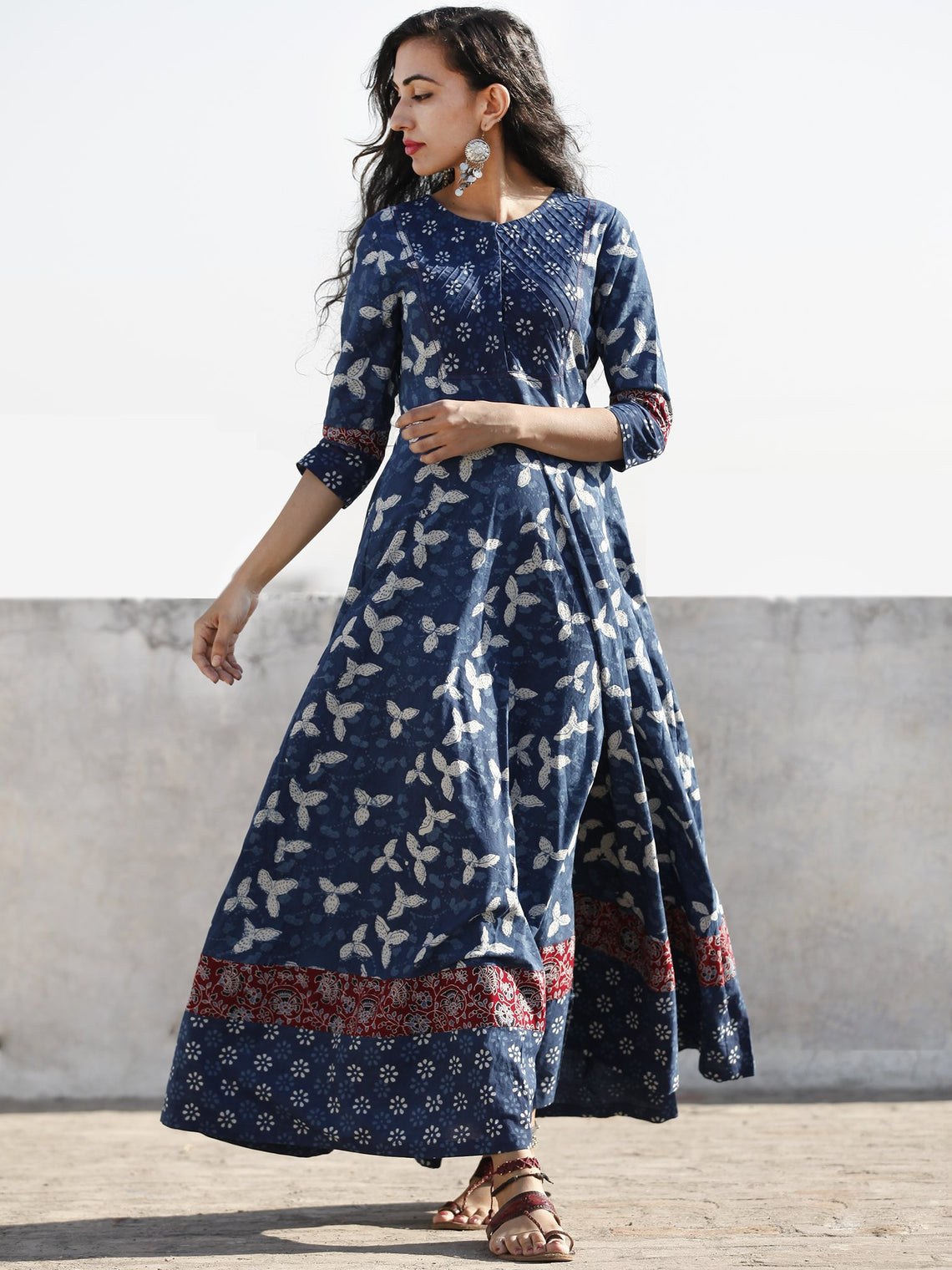 Indigo White Red Hand Block Printed Cotton Dress With Pin Tuck  - D204F1110