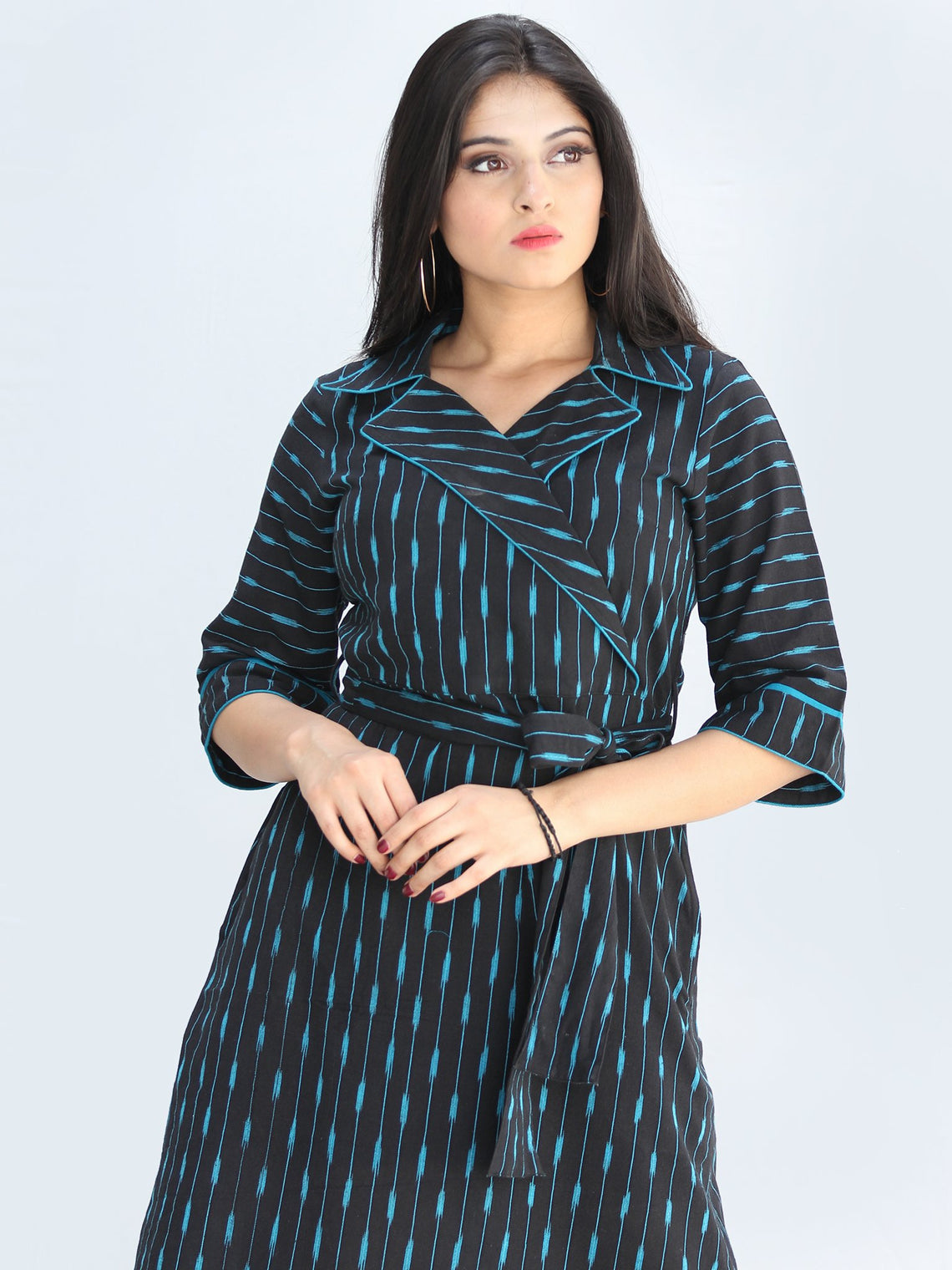 Musn - Handwoven Ikat Cotton Midi Tie Up Dress - D424F1444