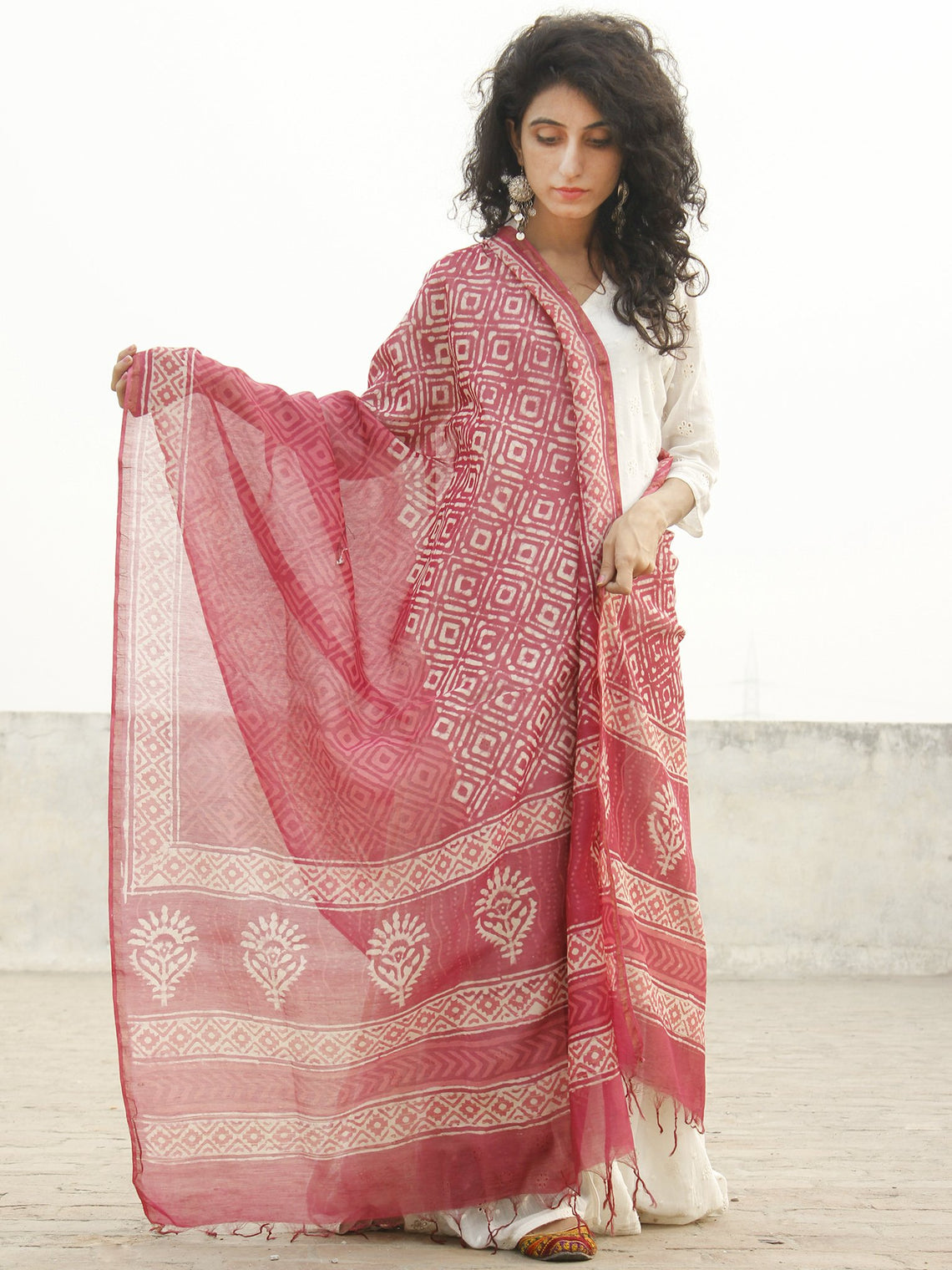 Punch Pink  Ivory Chanderi Hand Black Printed & Hand Painted Dupatta - D04170238