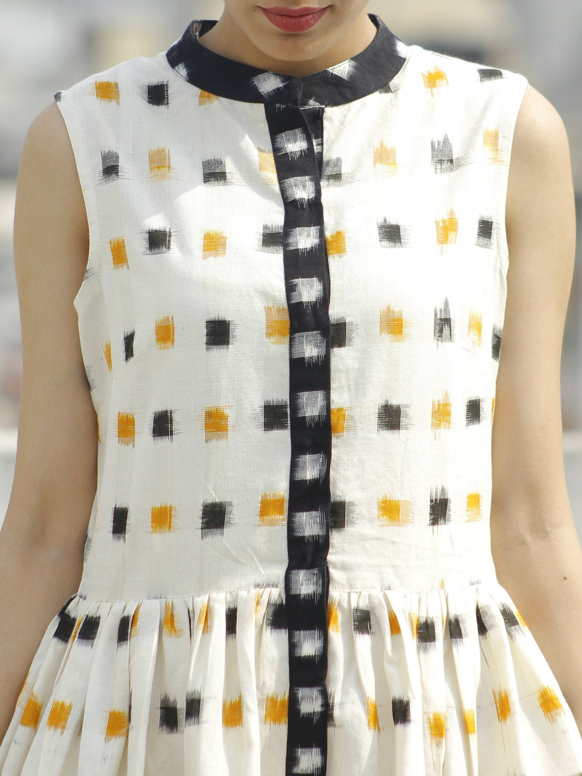 Ivory Black Mustard Ikat Sleeveless Dress With Side Pockets-  D107F764
