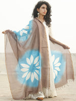 Kashish Sky Blue Chanderi Hand Black Printed & Hand Painted Dupatta - D04170239