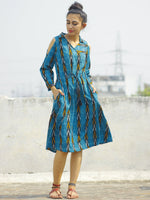 Blue Black Mustard Ivory Handwoven Ikat Dress With Cold Shoulder & Tie Up Waist -  D119F825