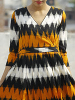 Yellow Black Ivory Ikat Dress With Gathers & Side Pockets -  D118F932
