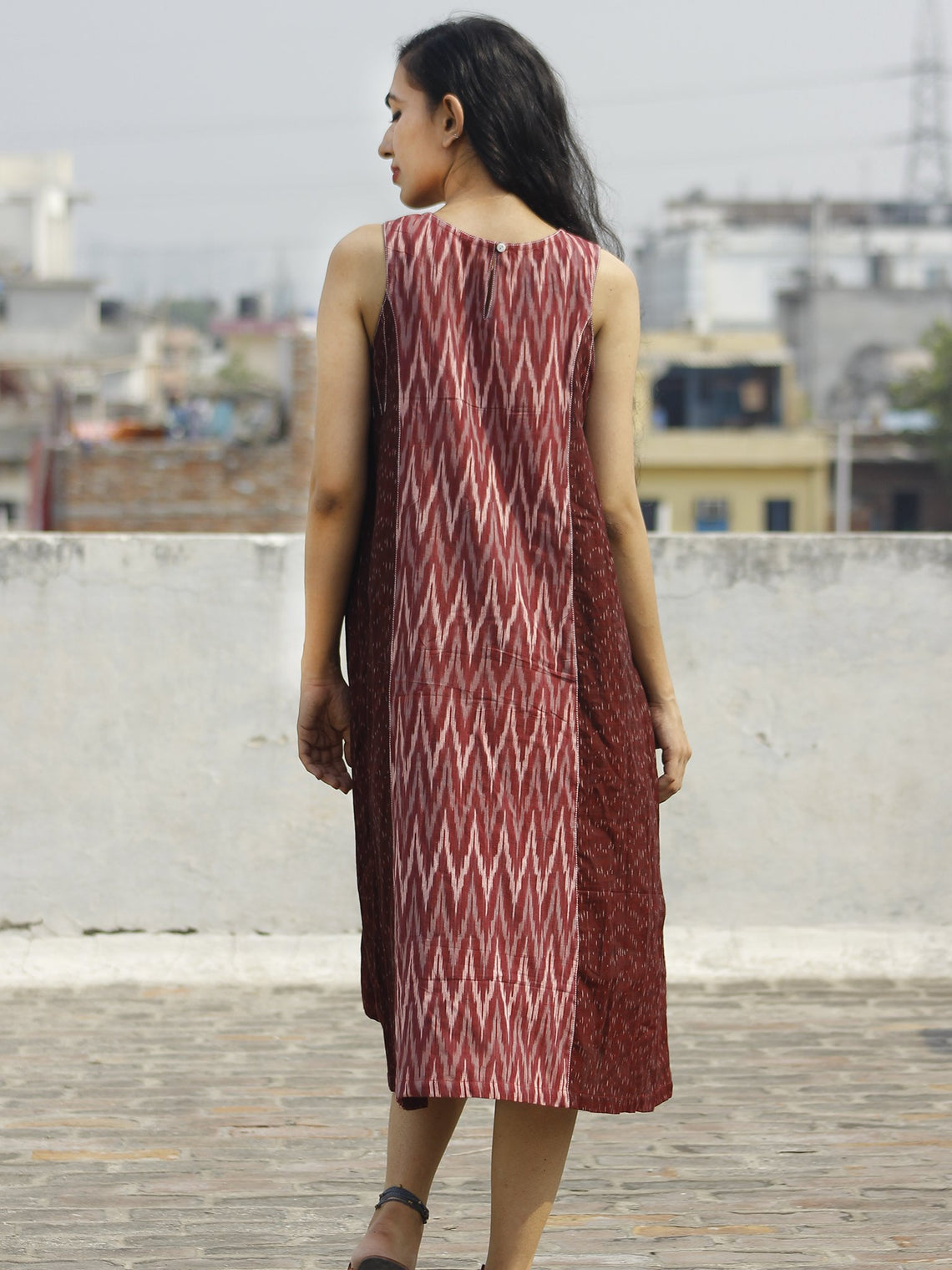 Maroon Ivory Grey Handwoven Ikat Knife Pleated Sleeveless Dress With Front Pockets-  D82F859