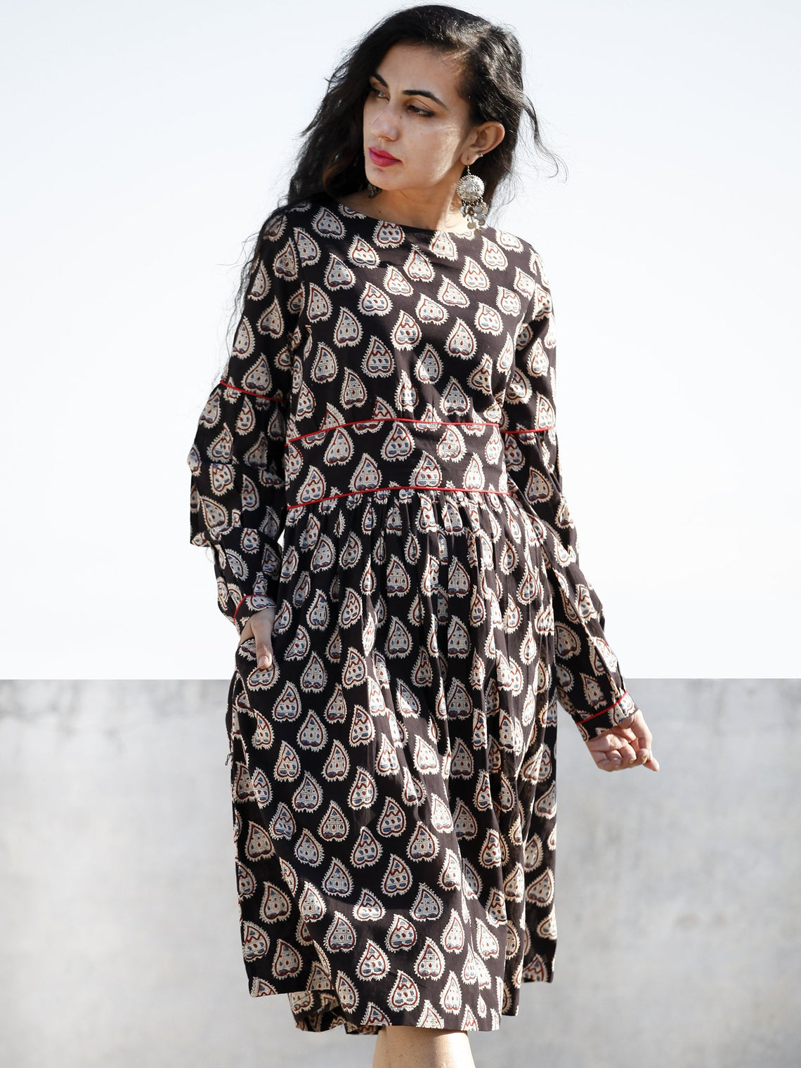 Black White Blue Hand Block Printed Cotton Midi Dress With Peasant Sleeves  - D203F997