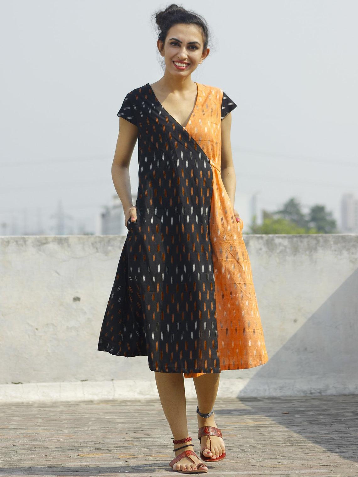 Black Peach Ivory Handwoven Ikat Wrap Dress With Side Pockets  - D120F746
