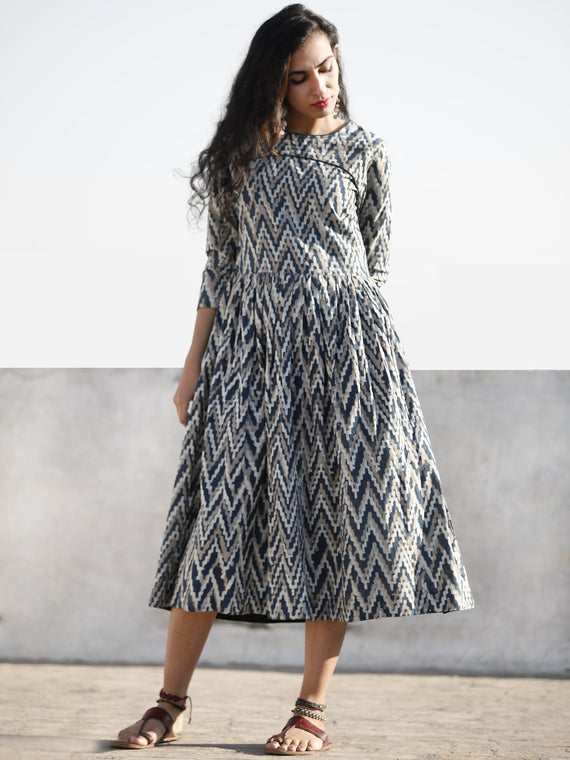 Kashish Indigo White Hand Block Printed Cotton Midi Dress With Back Details  - D207F1113
