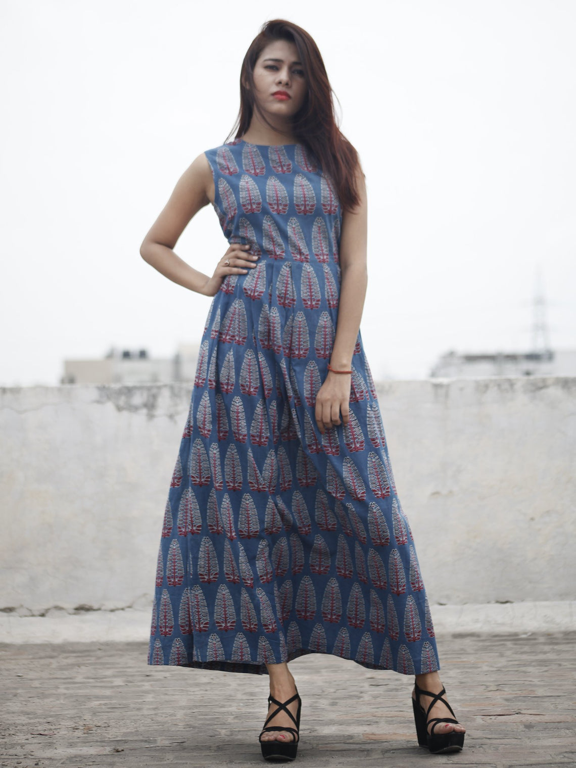 Indigo Maroon Ivory Long Ajrakh Hand Block Printed Cotton Dress With Knife Pleats & Side Pockets - D32F866