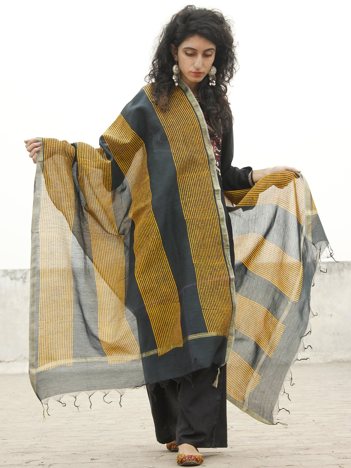 Black Mustard Yellow Chanderi Hand Black Printed & Hand Painted Dupatta - D04170213