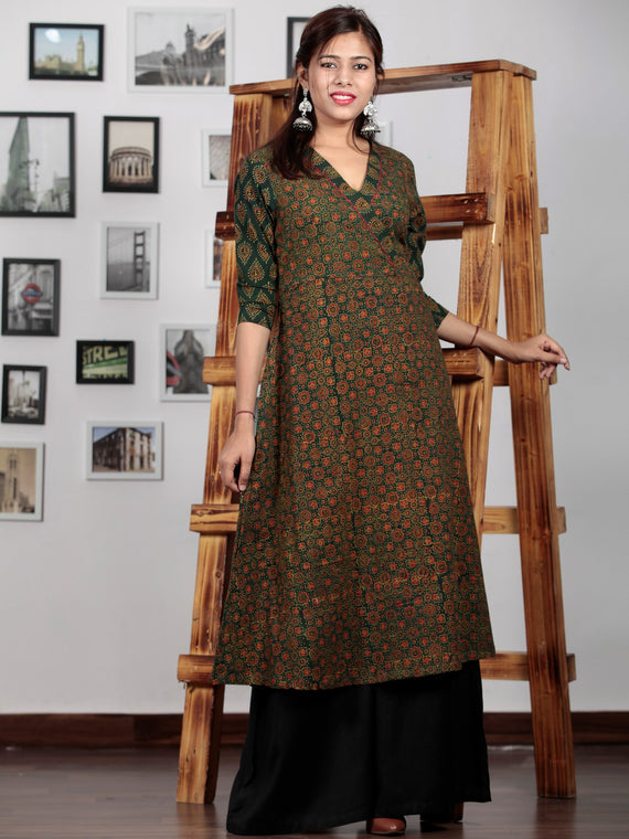 Green Red Yellow Ajrakh Hand Block Printed Kurta in Natural Colors - K65BP0127