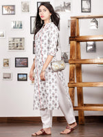 White Green Red Hand Block Printed Kurta In Natural Colors - K96F1496