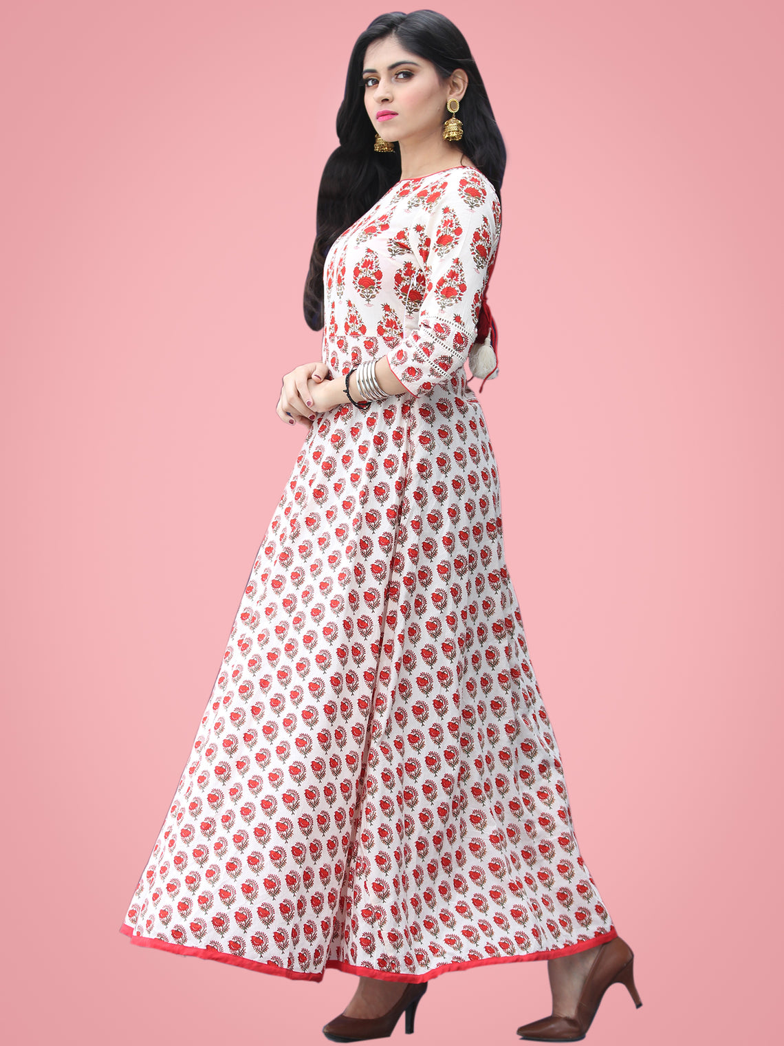 Nusrat - Ivory Red Green Block Printed Urave Cut Long Dress With Tie Up Deep Back - D404F2016